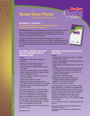 MoorMan's ShowTec Goat Show Feeds Quick Reference Guide